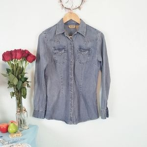 Wrangler retro style western shirt with grommets